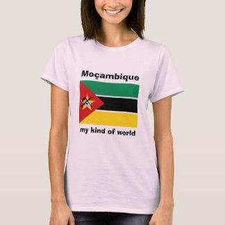 Camiseta Bandeira de Mozambique + Mapa + T-shirt do texto