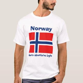 Camiseta Bandeira de Noruega + Mapa + T-shirt do texto