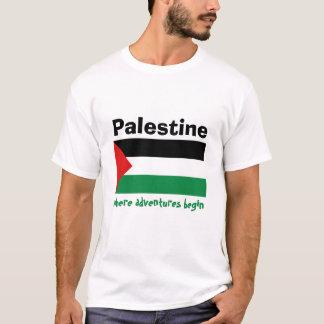 Camiseta Bandeira de Palestina + Mapa + T-shirt do texto