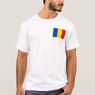 Camiseta Bandeira de Romania e t-shirt do mapa