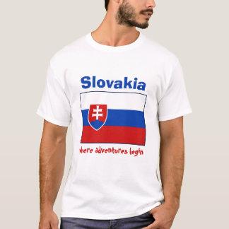 Camiseta Bandeira de Slovakia + Mapa + T-shirt do texto