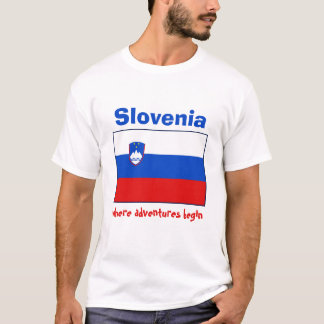 Camiseta Bandeira de Slovenia + Mapa + T-shirt do texto