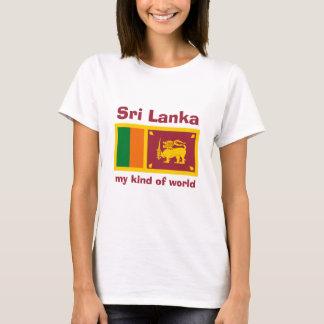 Camiseta Bandeira de Sri Lanka + Mapa + T-shirt do texto