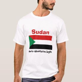 Camiseta Bandeira de Sudão + Mapa + T-shirt do texto
