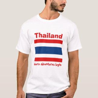 Camiseta Bandeira de Tailândia + Mapa + T-shirt do texto