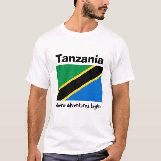 Camiseta Bandeira de Tanzânia + Mapa + T-shirt do texto