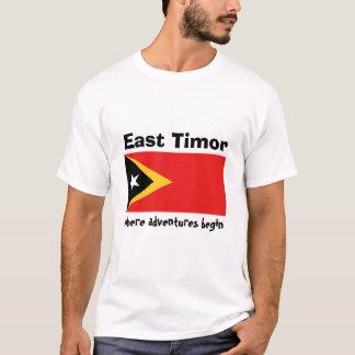Camiseta Bandeira de Timor-Leste + Mapa + T-shirt do texto