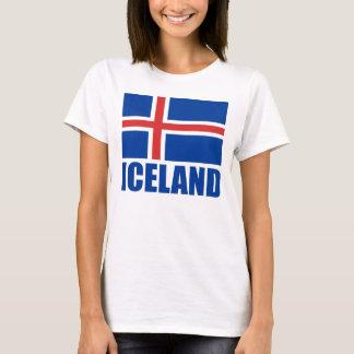 Camiseta Bandeira do branco azul do texto de Islândia