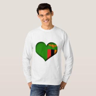 Camiseta Bandeira do coração da Zâmbia