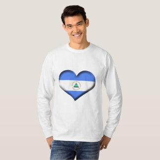 Camiseta Bandeira do coração de Nicarágua
