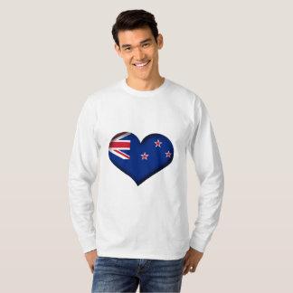 Camiseta Bandeira do coração de Nova Zelândia