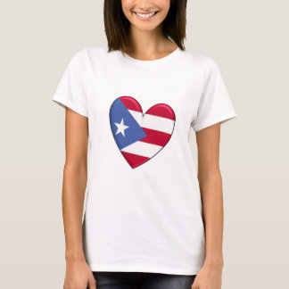 Camiseta Bandeira do coração de Puerto Rico