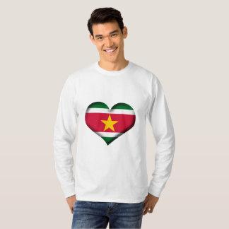 Camiseta Bandeira do coração de Suriname