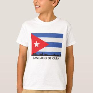 Camiseta Bandeira do cubano da skyline de Santiago de Cuba