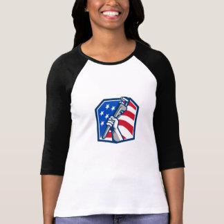 Camiseta Bandeira dos EUA da chave de tubulação da mão do