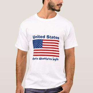 Camiseta Bandeira dos EUA + Mapa + T-shirt do texto