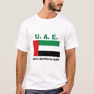 Camiseta Bandeira dos UAE + Mapa + T-shirt do texto