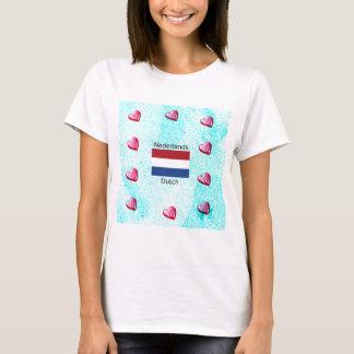 Camiseta Bandeira holandesa e design holandês da língua