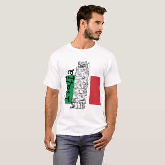 Camiseta Bandeira italiana e torre inclinada de Pisa