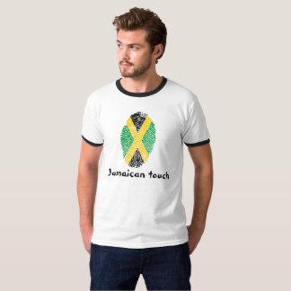 Camiseta Bandeira jamaicana da impressão digital do toque
