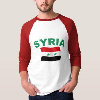 Camiseta Bandeira ondulada de Syria - letras verdes