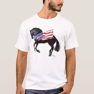Camiseta Bandeira patriótica do cavalo do frisão
