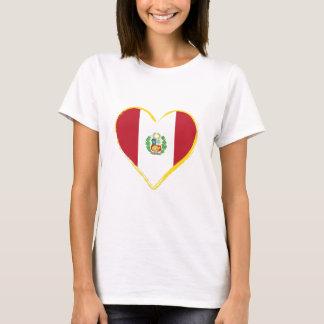 Camiseta Bandeira peruana da forma do coração com protetor,