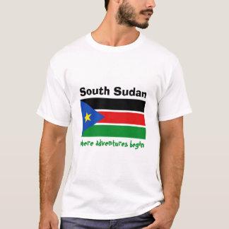 Camiseta Bandeira sul de Sudão + Mapa + T-shirt do texto