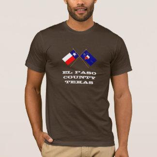Camiseta Bandeiras cruzadas de Texas e de Condado de El