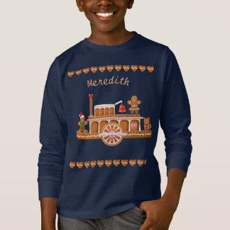 Camiseta Barco a vapor do Natal do pão-de-espécie