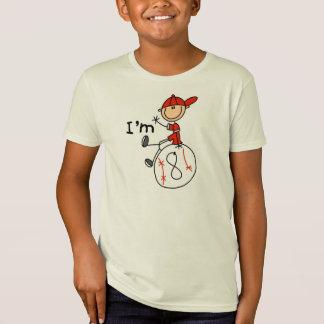 Camiseta Basebol dos meninos eu sou 8
