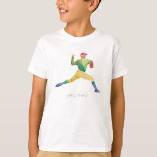 Camiseta Basebol duro Origami do jogo