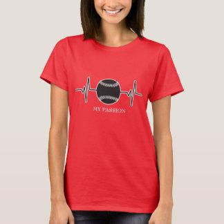 Camiseta Basebol/softball - minha pulsação do coração da