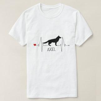 Camiseta Batimento cardíaco personalizado do cão do amor do