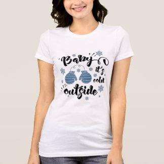 Camiseta Bebê seu inverno bonito dos mitenes da parte