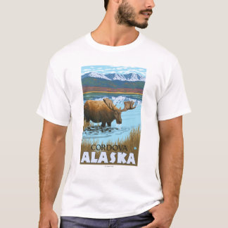 Camiseta Bebendo dos alces no lago - Cordova, Alaska