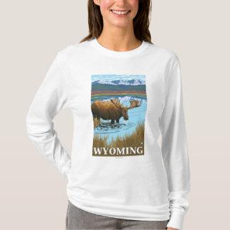 Camiseta Bebendo dos alces no lago - Wyoming