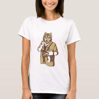 Camiseta bebendo ligado humano do cão