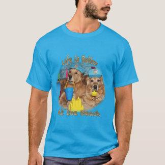 Camiseta Bebês da praia do golden retriever