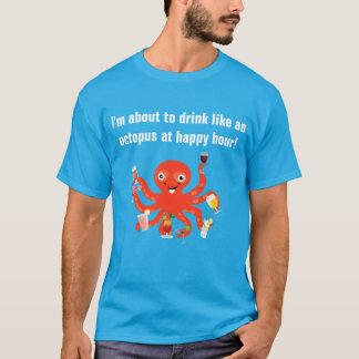 Camiseta Bebida como um polvo no happy hour engraçado