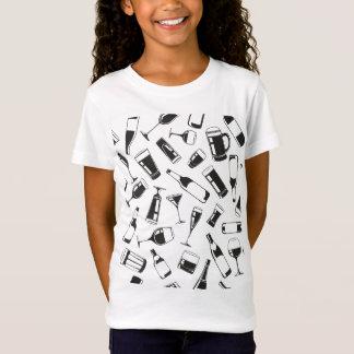 Camiseta Bebidas e vidros pretos do teste padrão