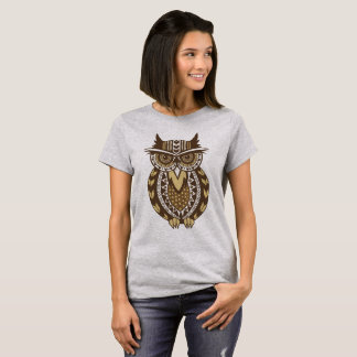 Camiseta Bege/coruja tribal do ouro