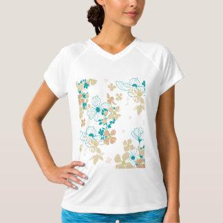 Camiseta Bege floral e cerceta