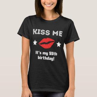 Camiseta Beije-me que é meu 55th aniversário