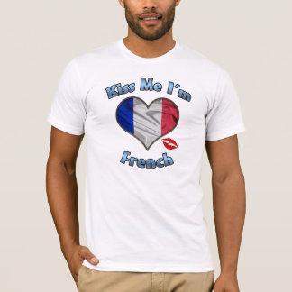 Camiseta Beije-me que eu sou t-shirt francês da bandeira -
