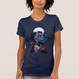 Camiseta Beijo da mulher maravilha & do superman da liga de