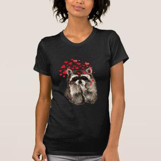 Camiseta Beijos do guaxinim engraçado & corações de sopro