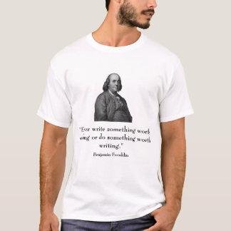 Camiseta Ben Franklin e citações