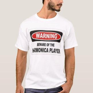 Camiseta beware do jogador da harmônica