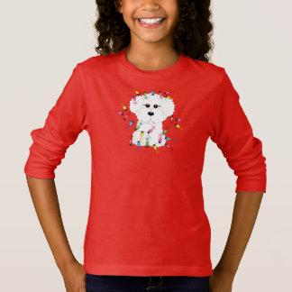 Camiseta Bichon Frise com luzes de Natal